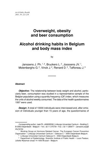 Overweight, obesity and beer consumption Alcohol drinking habits ...