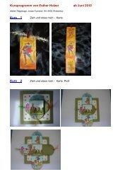 Kursprogramm von Esther Holzer ab Juni 2010 ... - Atelier Rägeboge