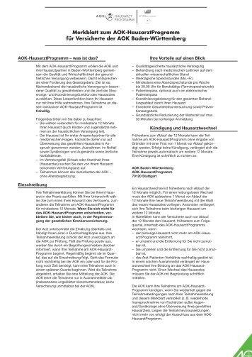 Merkblatt zum Facharztprogramm für Versicherte der Bosch BKK