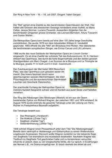 Der Ring in New York – 16. – 19. Juli 2007, Dirigent: Valeri Gergiev ...