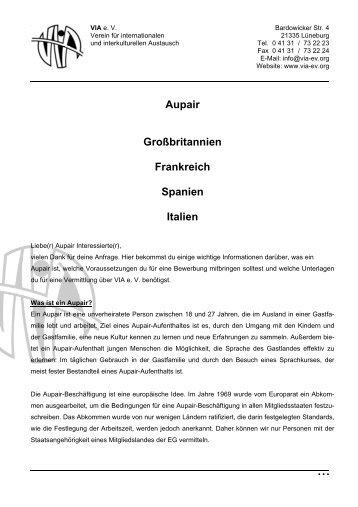 Aupair Großbritannien Frankreich Spanien Italien - VIA e. V.