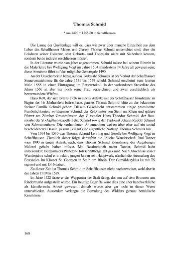 Thomas Schmid - Stadtarchiv Schaffhausen