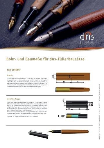 Bohr- und Baumaße für dns-Füllerbausätze