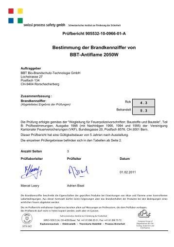 Bestimmung der Brandkennziffer von BBT ... - bbt Brandschutz