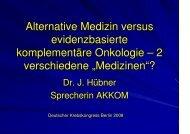 Vortrag für Ärzte beim Deutschen Krebskongress, Berlin Februar