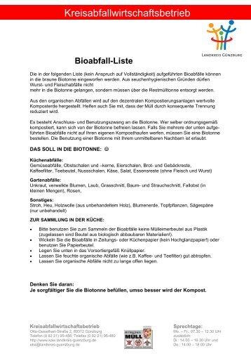 Bioabfall-Liste