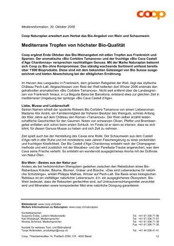 Mediterrane Tropfen von höchster Bio-Qualität - Coop