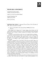 Ficha del concierto - Orquesta y Coro de la Comunidad de Madrid