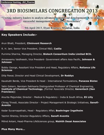 Key Speakers Include - Company Profiles and Conferences