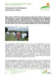 Fachaustausch in den Regionen Gäa Seminar in Hessen