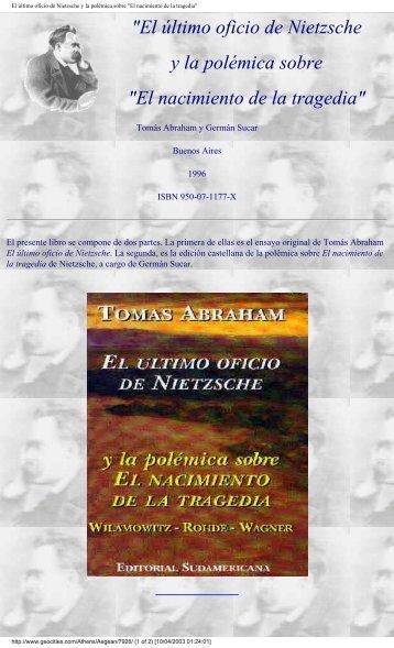 El nacimiento de la tragedia - Raul Aragon