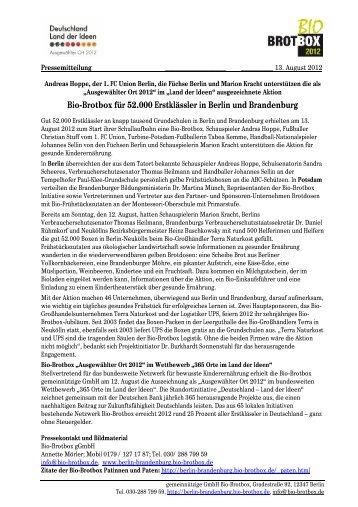 Bio-Brotbox für 52.000 Erstklässler in Berlin und Brandenburg