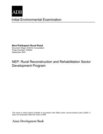 initial environmental examination report Iee checklist for sewage collection, transport and disposal page 1 of 21 initial environmental examination (iee) report for collection, transport, treatment and disposal of sewage.