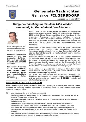 Gemeinde-Nachrichten Gemeinde PILGERSDORF