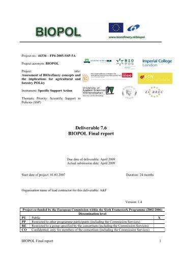 Deliverable 7.6 BIOPOL Final report - Biorefinery