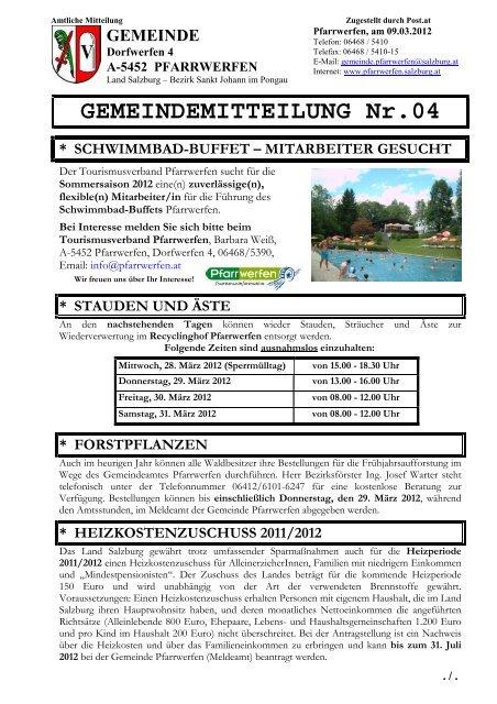 Gemeindemitteilung Nr 04 742 Kb Pfarrwerfen Salzburgat