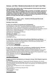 Genuss- und Wein- Wanderwochenende 24./25. April in der Pfalz