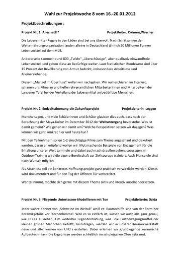 Wahl zur Projektwoche 8 vom 16.-20.01.2012 - Dreieichschule