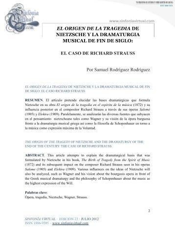 EL ORIGEN DE LA TRAGEDIA DE NIETZSCHE Y ... - Sinfonía Virtual