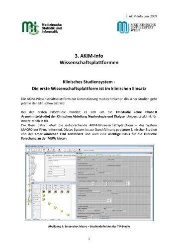 3. AKIM-Info Wissenschaftsplattformen Klinisches Studiensystem