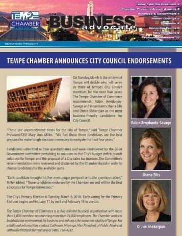 TEMPE CHAMBER ANNOUNCES CITY COUNCIL ENDORSEMENTS