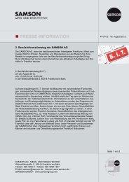 PRESSE-INFORMATION - Samson AG Mess- und Regeltechnik