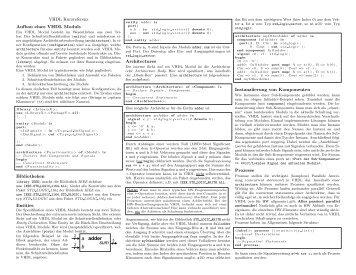 VHDL Kurzreferenz Aufbau eines VHDL Moduls Bibliotheken ...