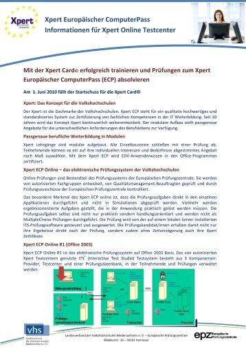 Xpert Europäischer ComputerPass Informationen für Xpert Online ...
