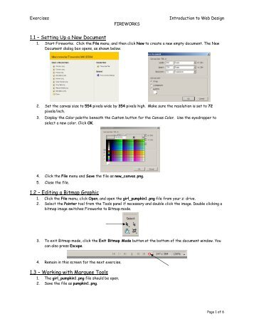 1.1 – Setting Up a New Document 1.2 – Editing a Bitmap Graphic ...