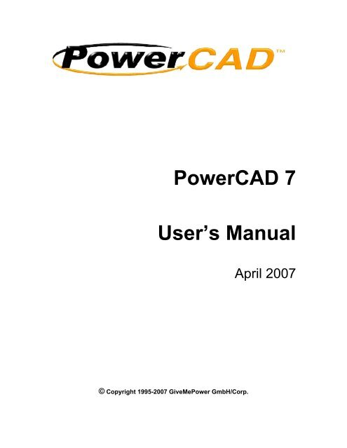 PowerCAD 7 User's Manual - SiteMaster Building