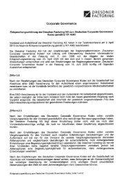 Entsprechungserklärung zum Kodex - Dresdner Factoring AG