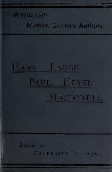 Hans Lange, Schauspiel in vier Akten;