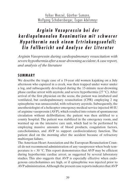 Arginin Vasopressin bei der kardiopulmonalen Reanimation mit ...