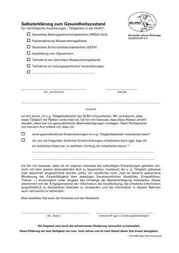 Selbsterklärung zum Gesundheitszustand - DLRG Clausthal