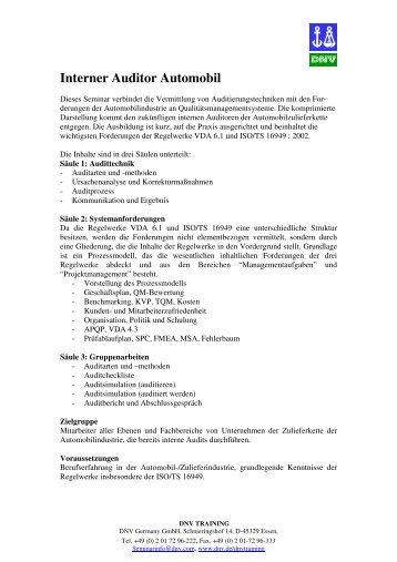 Interner Auditor Automobil - DNV Germany