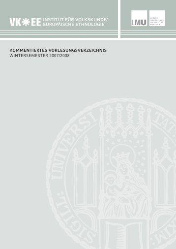 Kommentiertes Vorlesungsverzeichnis Wintersemester 2007/2008