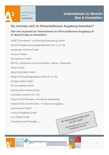 Bau und Immobilien - im Wirtschaftsraum Augsburg.