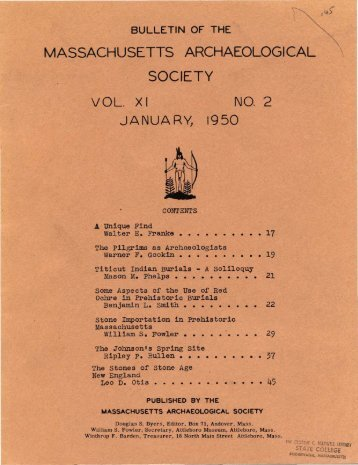 Bulletin of the Massachusetts Archaeological Society, Vol. 11, No. 2 ...