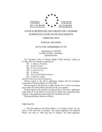 CONSEIL DE L'EUROPE COUNCIL OF EUROPE COUR ...