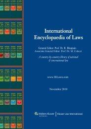 Catalogue - International Encyclopaedia of Laws