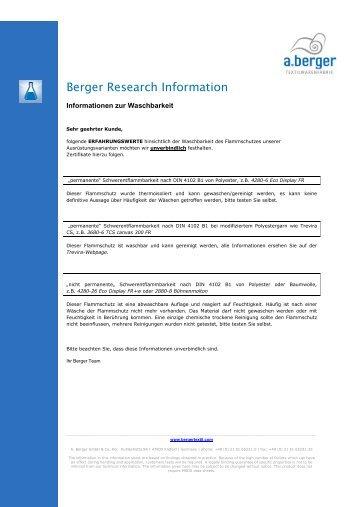 Verarbeitung: Waschbarkeit der Berger Stoffe - a.berger
