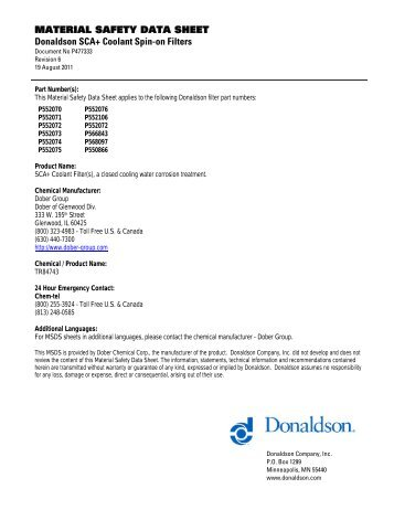 SECTION 1 - Product Identification - Donaldson Company, Inc.