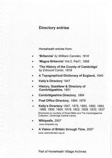 Directory entries - Horseheath Village