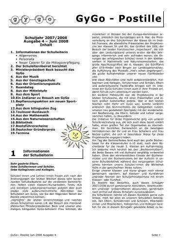 Postille Nr. 4 - Juni 2008 - Gymnasium Mainz-Gonsenheim