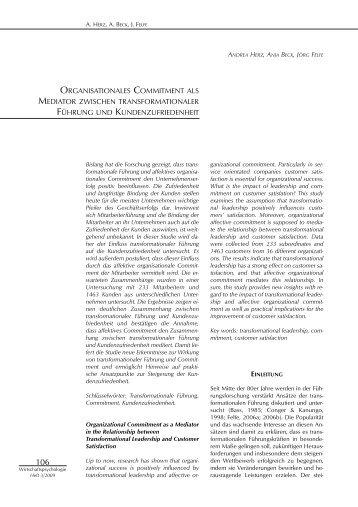 ORGANISATIONALES COMMITMENT ALS ... - Herz und Beck