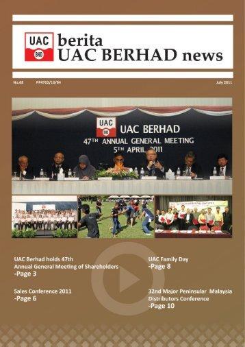 Ketua Pegawai Eksekutif/ Pengarah Urusan - UAC Berhad