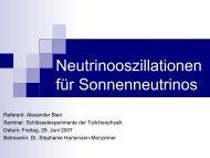 8B-Neutrinos unterliegen Flavour-Oszillationen