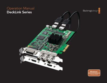 Operation Manual DeckLink Series - Go Electronic