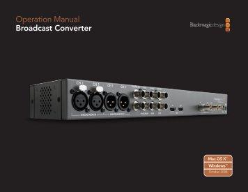 Operation Manual Broadcast Converter - Genesis Matrix Video