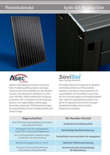 Eigenschaften Ihr Kunden-Vorteil - SoviSol GmbH